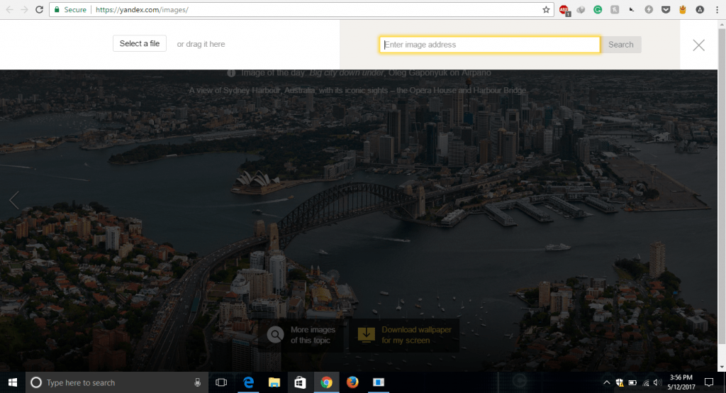 how to do reverse image search on yandex