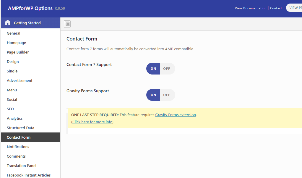 Contact form support amp